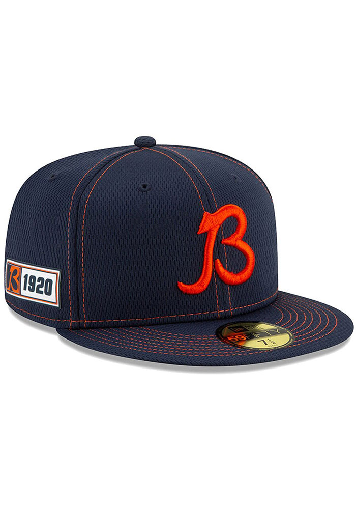 New Era Chicago Bears Mens Navy Blue 2019 Official Sideline Road 59FIFTY Fitted Hat - Image 1