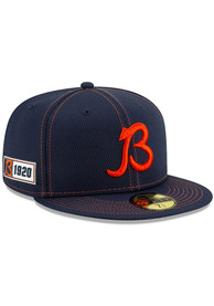 Chicago Bears New Era Navy Blue 2019 Official Sideline Road 59FIFTY Fitted Hat
