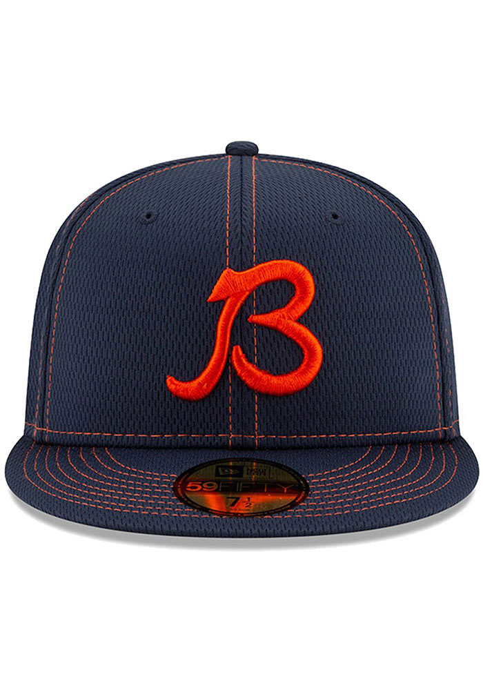New Era Chicago Bears Mens Navy Blue 2019 Official Sideline Road 59FIFTY Fitted Hat - Image 2