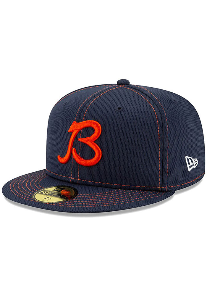 New Era Chicago Bears Mens Navy Blue 2019 Official Sideline Road 59FIFTY Fitted Hat - Image 3
