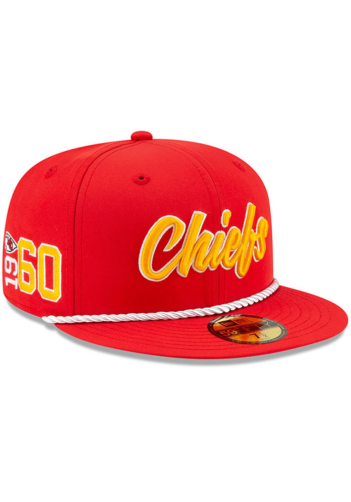 New Era Kansas City Chiefs Mens Red 2019 Official Sideline Home 59FIFTY Fitted Hat - Image 2