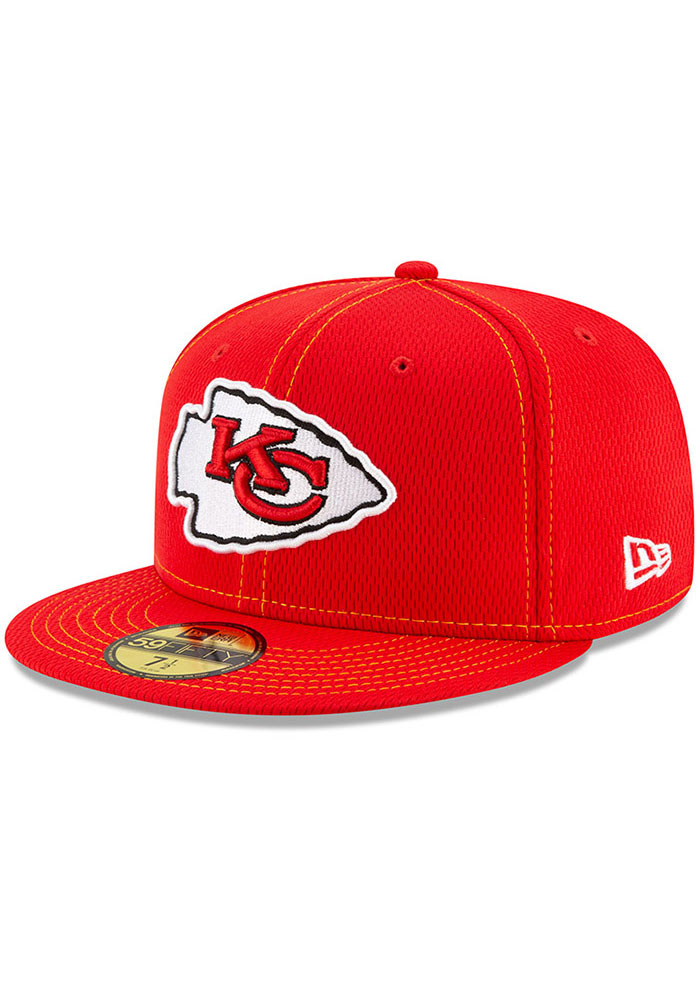 New Era Kansas City Chiefs Mens Red 2019 Official Sideline Road 59FIFTY Fitted Hat - Image 1