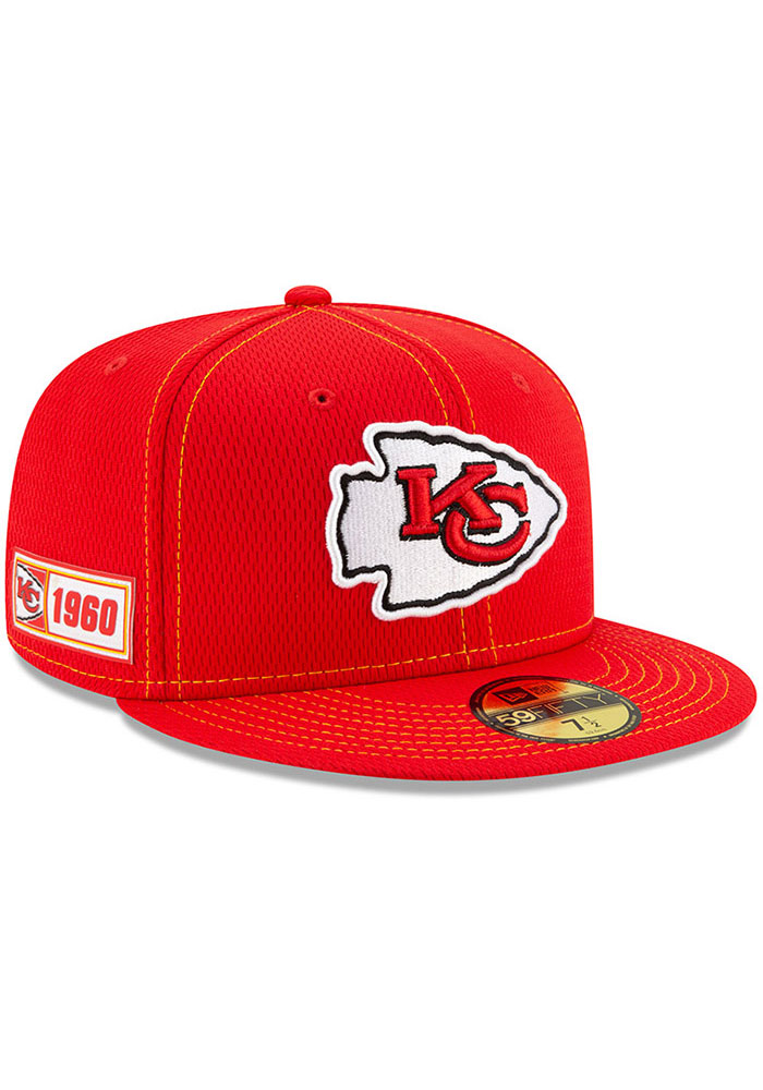 New Era Kansas City Chiefs Mens Red 2019 Official Sideline Road 59FIFTY Fitted Hat - Image 2