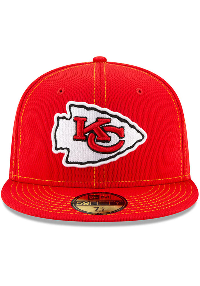 New Era Kansas City Chiefs Mens Red 2019 Official Sideline Road 59FIFTY Fitted Hat - Image 3