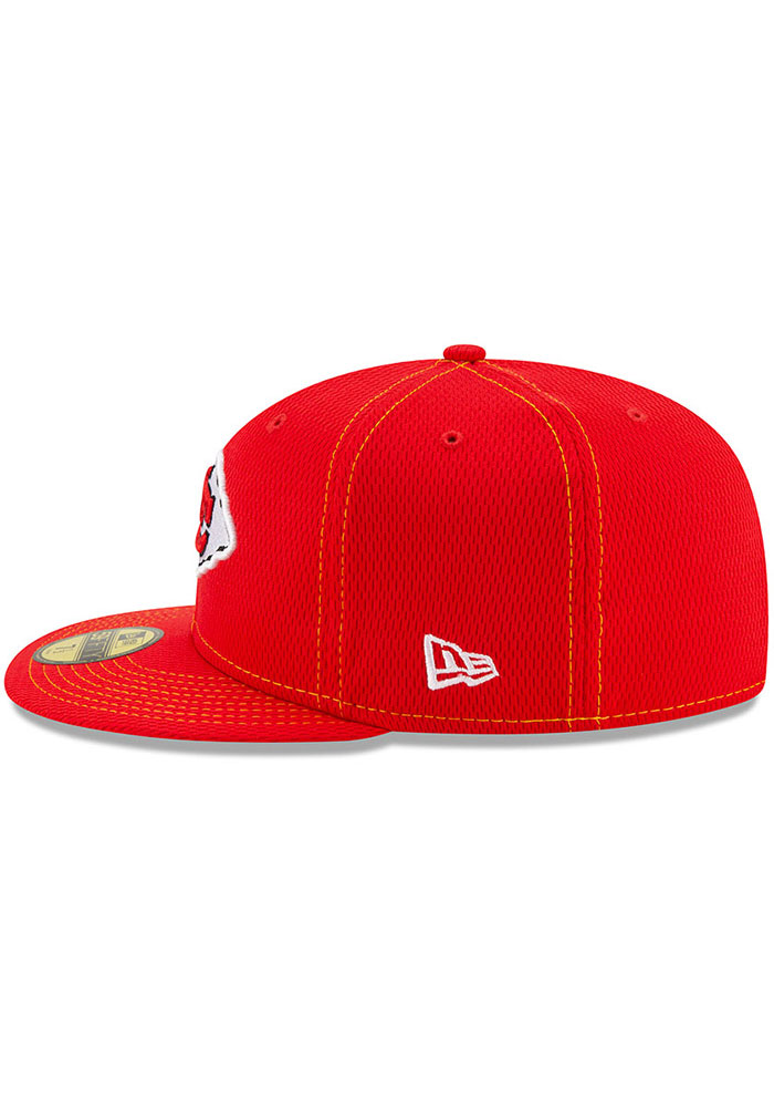 New Era Kansas City Chiefs Mens Red 2019 Official Sideline Road 59FIFTY Fitted Hat - Image 4