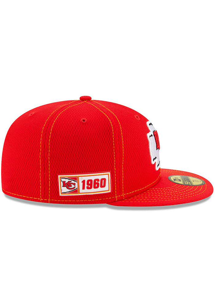 New Era Kansas City Chiefs Mens Red 2019 Official Sideline Road 59FIFTY Fitted Hat - Image 6