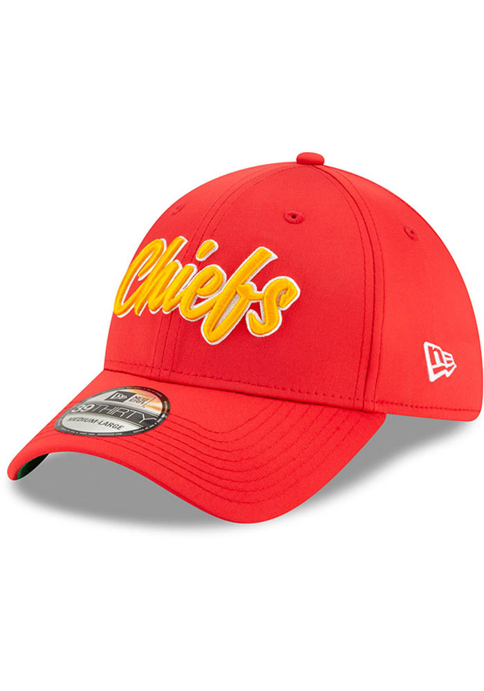 New Era Kansas City Chiefs Mens Red 2019 Official Sideline Home 39THIRTY Flex Hat - Image 1