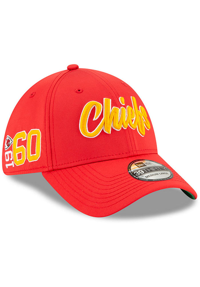 New Era Kansas City Chiefs Mens Red 2019 Official Sideline Home 39THIRTY Flex Hat - Image 2