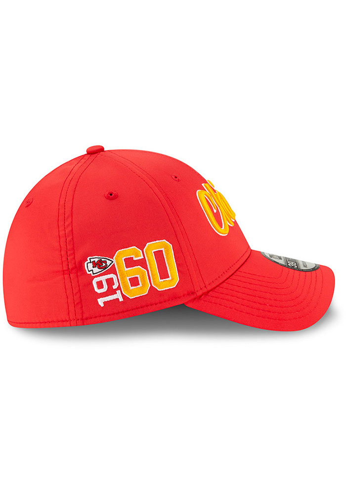 New Era Kansas City Chiefs Mens Red 2019 Official Sideline Home 39THIRTY Flex Hat - Image 6