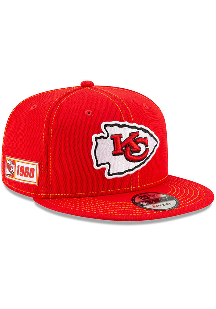 New Era Kansas City Chiefs Red 2019 Official Sideline Road 9FIFTY Mens Snapback Hat - Image 2