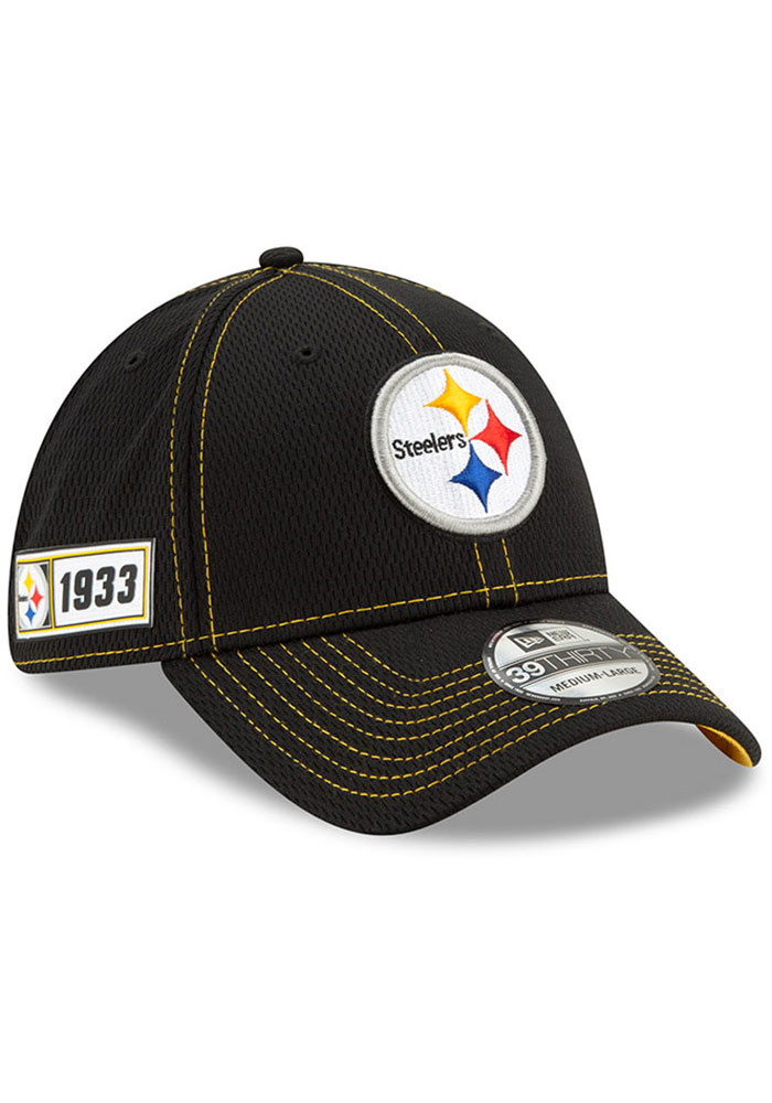 492a56c5 New Era Pittsburgh Steelers Mens Black 2019 Official Sideline Road 39THIRTY  Flex Hat