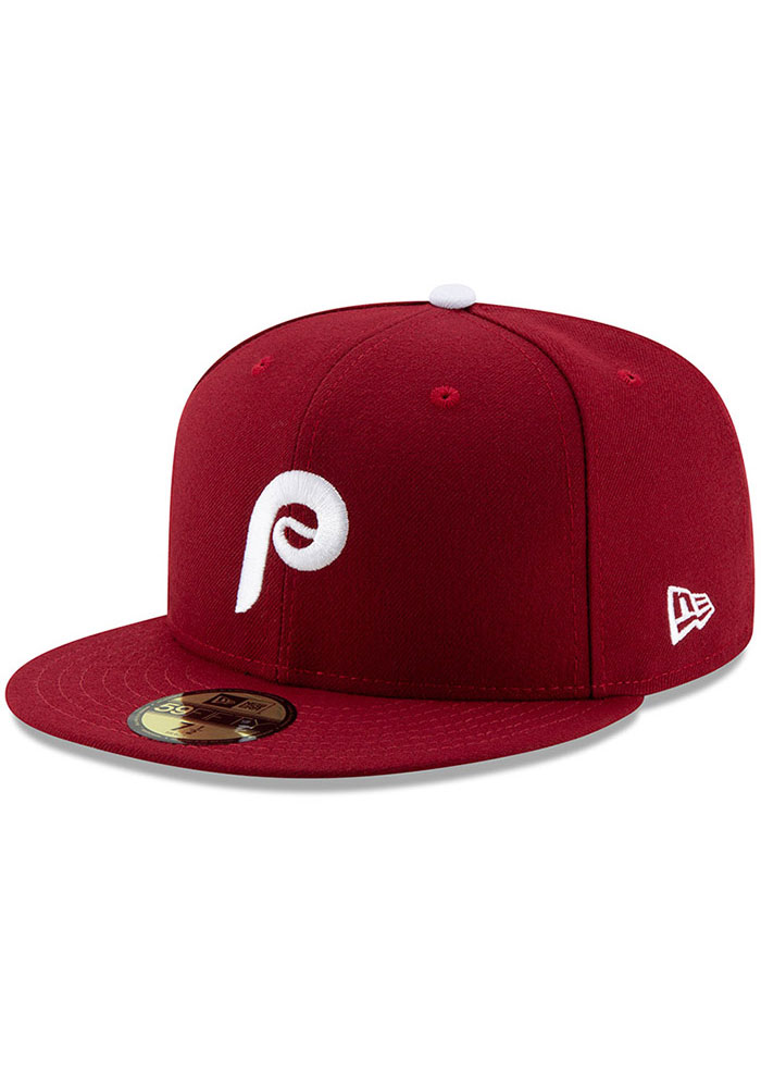 New Era Philadelphia Phillies Mens Maroon MLB AC 59FIFTY Fitted Hat - Image 1