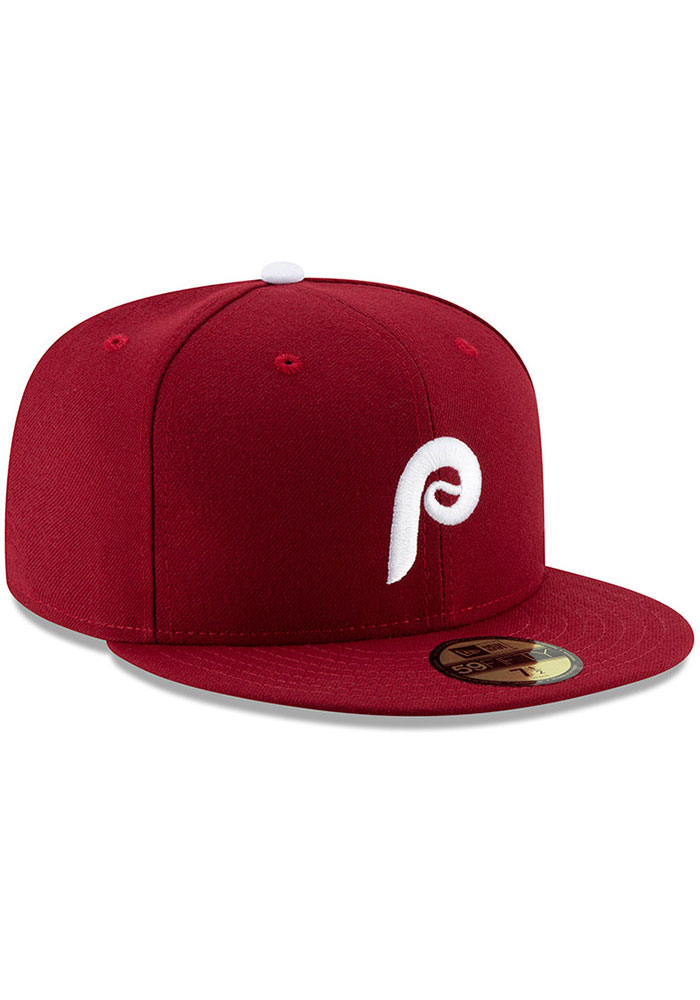 New Era Philadelphia Phillies Mens Maroon MLB AC 59FIFTY Fitted Hat - Image 2