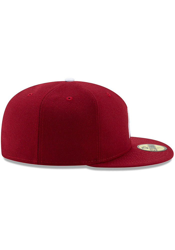 New Era Philadelphia Phillies Mens Maroon MLB AC 59FIFTY Fitted Hat - Image 6