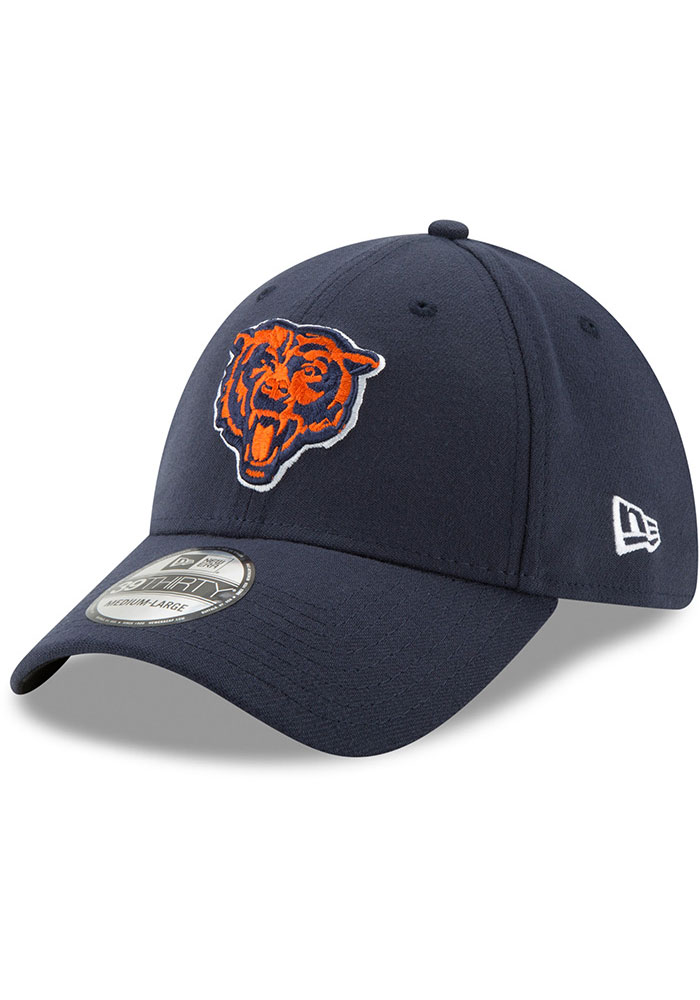 New Era Chicago Bears Mens Navy Blue Team Classic 39THIRTY Flex Hat - Image 1