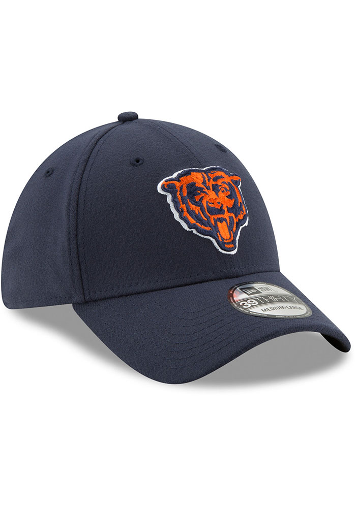 New Era Chicago Bears Mens Navy Blue Team Classic 39THIRTY Flex Hat - Image 2