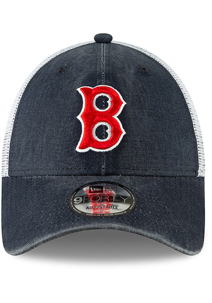 New Era Boston Red Sox Cooperstown Trucker 9FORTY Adjustable Hat - Navy Blue - Image 3