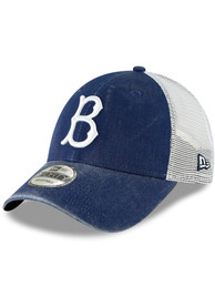 New Era Brooklyn Cooperstown Trucker 9FORTY Adjustable Hat - Blue