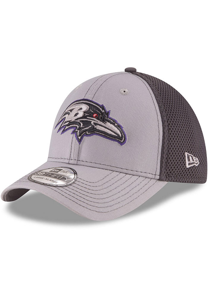 Baltimore Ravens New Era Grayed Out Neo 39THIRTY Flex Hat - Grey