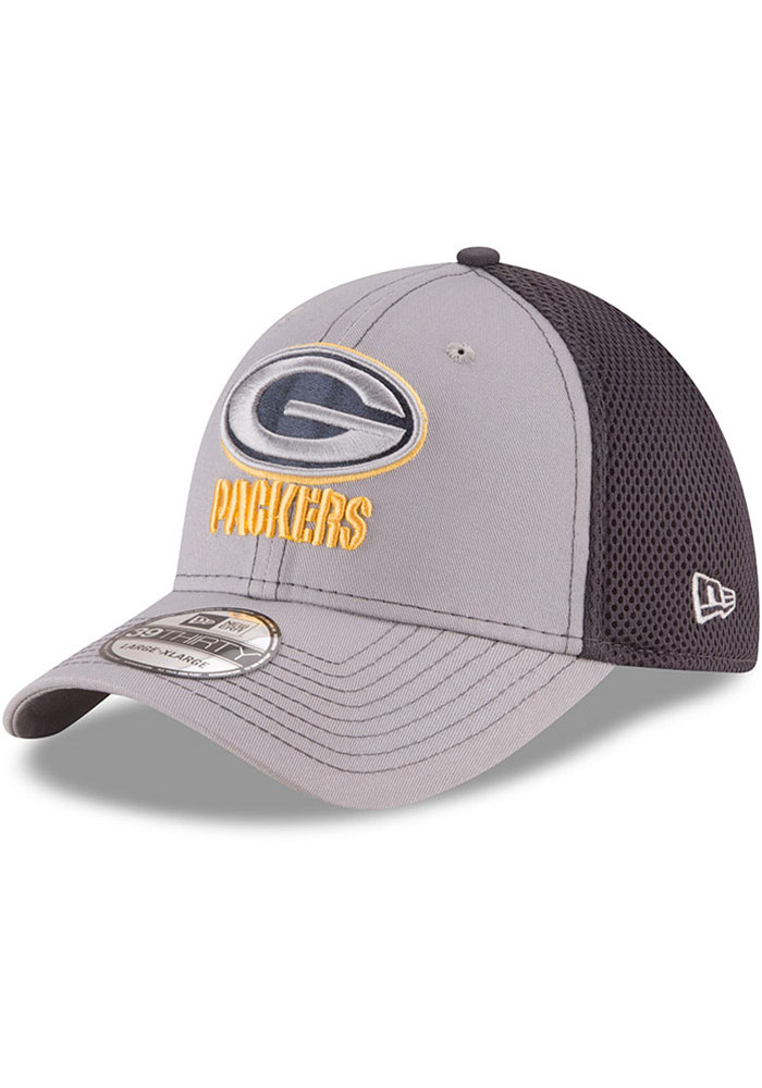 New Era Green Bay Packers Mens Grey Grayed Out Neo 39THIRTY Flex Hat - Image 1