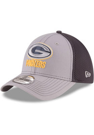 Green Bay Packers New Era Grayed Out Neo 39THIRTY Flex Hat - Grey