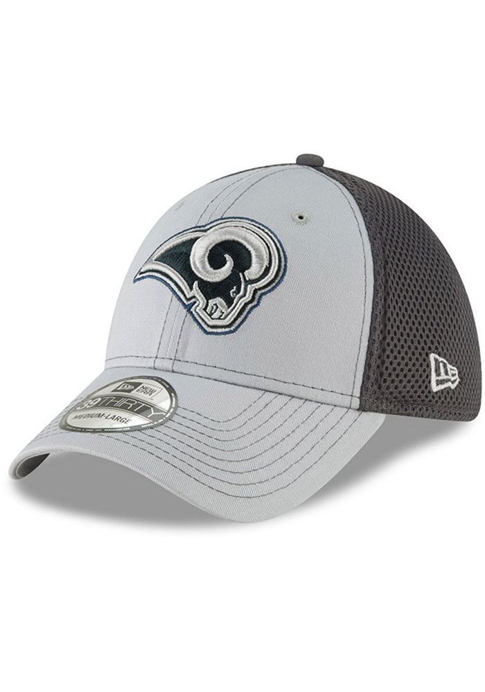 New Era Los Angeles Rams Mens Grey Grayed Out Neo 39THIRTY Flex Hat - Image 1