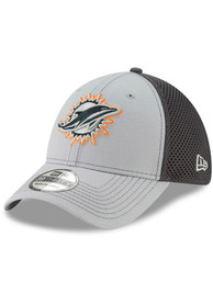 Miami Dolphins New Era Grayed Out Neo 39THIRTY Flex Hat - Grey