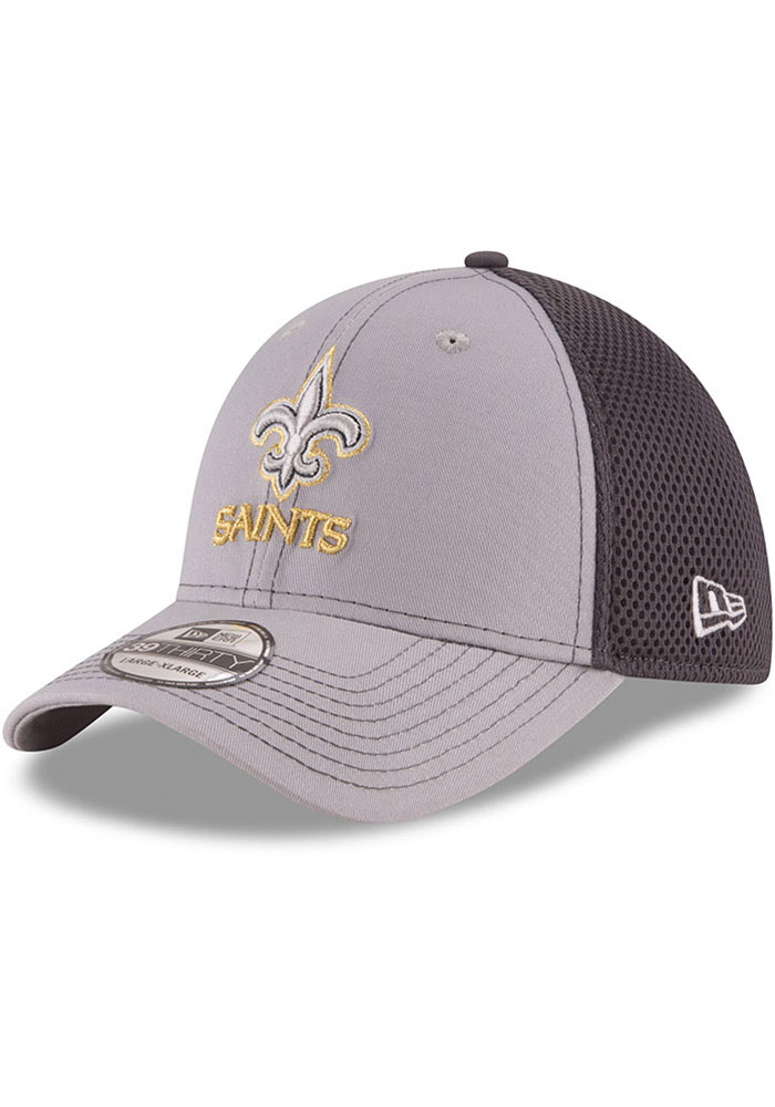 New Era New Orleans Saints Mens Grey Grayed Out Neo 39THIRTY Flex Hat - Image 1