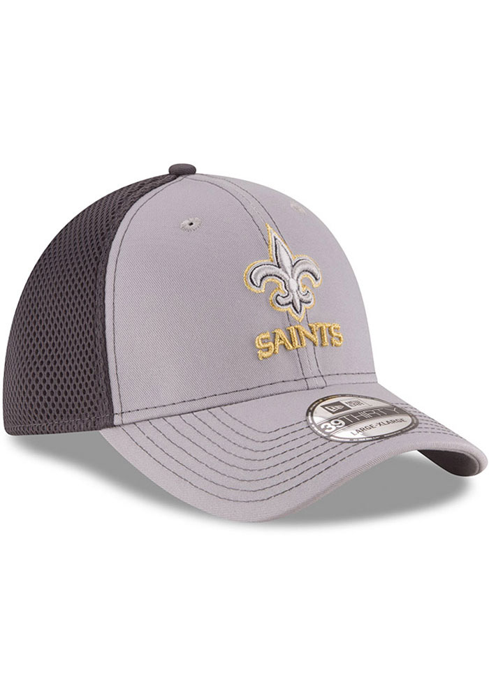 New Era New Orleans Saints Mens Grey Grayed Out Neo 39THIRTY Flex Hat - Image 2