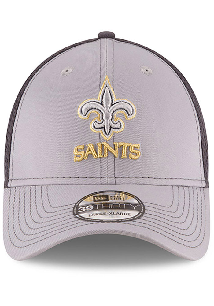 New Era New Orleans Saints Mens Grey Grayed Out Neo 39THIRTY Flex Hat - Image 3