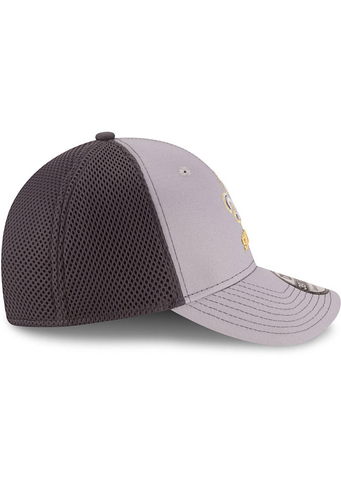 New Era New Orleans Saints Mens Grey Grayed Out Neo 39THIRTY Flex Hat - Image 6