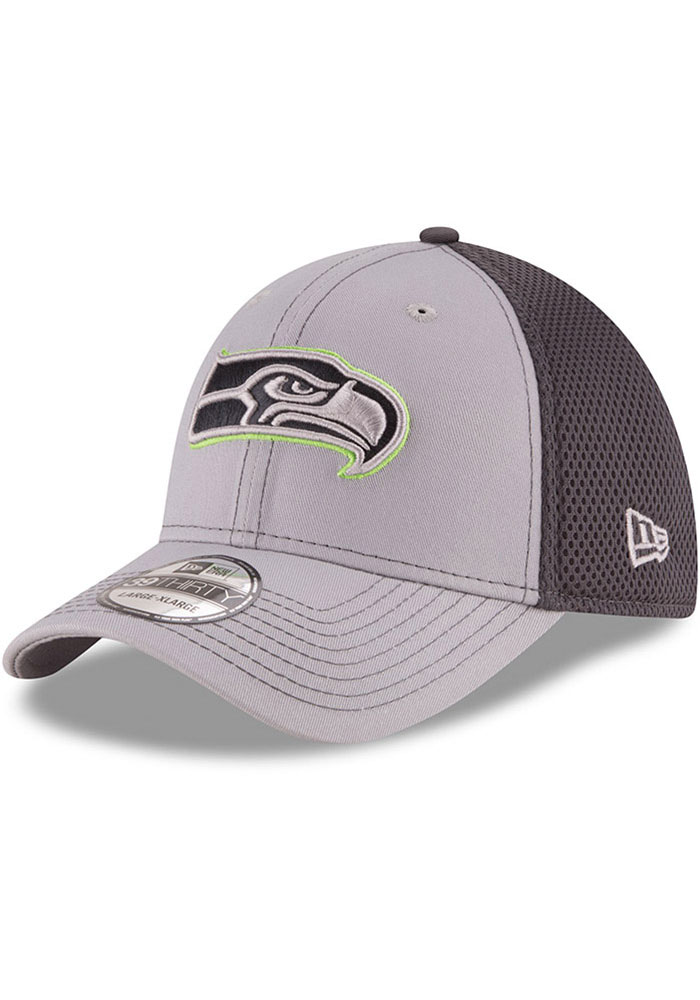 New Era Seattle Seahawks Mens Grey Grayed Out Neo 39THIRTY Flex Hat - Image 1