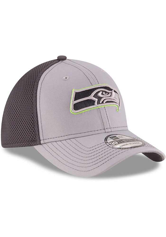 New Era Seattle Seahawks Mens Grey Grayed Out Neo 39THIRTY Flex Hat - Image 2