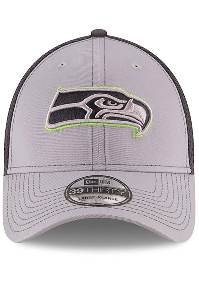New Era Seattle Seahawks Mens Grey Grayed Out Neo 39THIRTY Flex Hat - Image 3