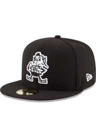 Cleveland Browns New Era White 59FIFTY Fitted Hat - Black