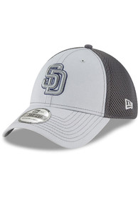 New Era San Diego Padres Grey Grayed Out 39THIRTY Flex Hat