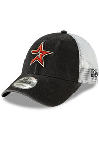 Houston Astros New Era Cooperstown Trucker 9FORTY Adjustable Hat - Black