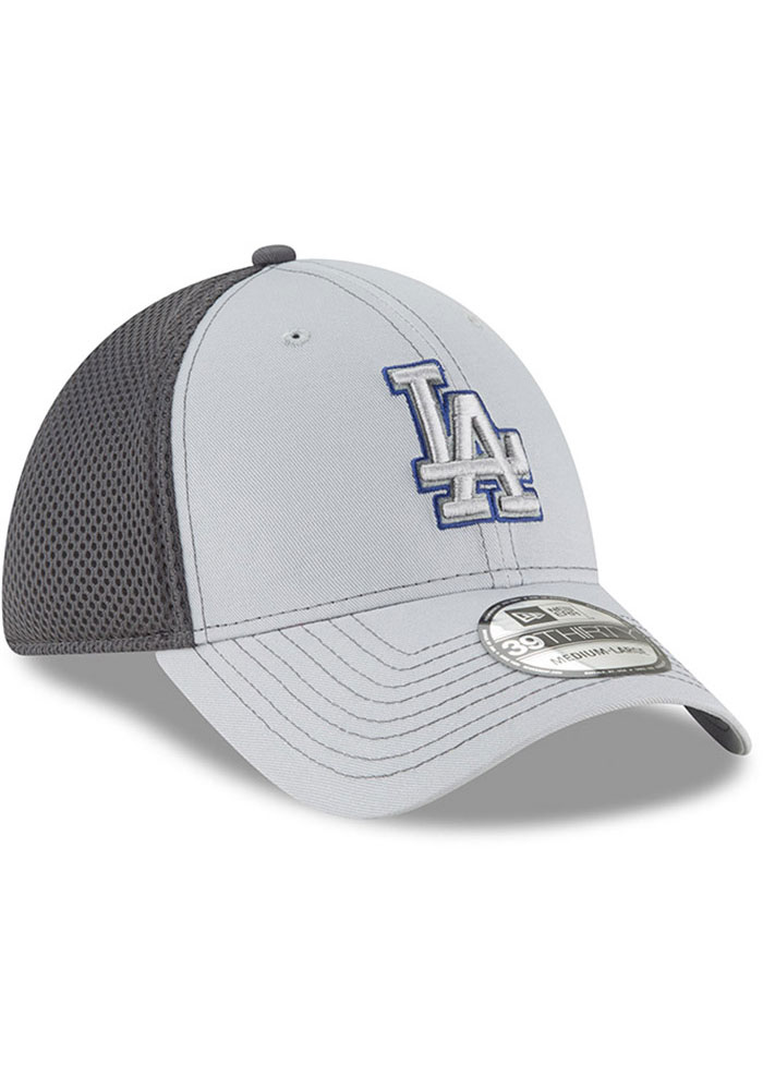 New Era Los Angeles Dodgers Mens Grey Grayed Out Neo 39THIRTY Flex Hat - Image 2