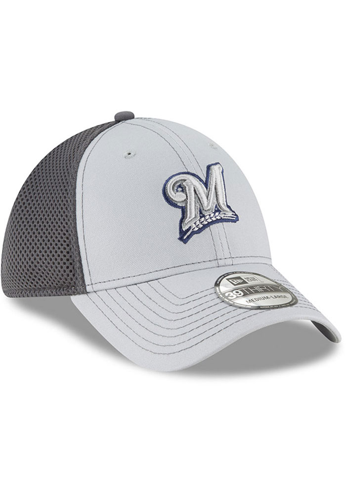 New Era Milwaukee Brewers Mens Grey Grayed Out Neo 39THIRTY Flex Hat - Image 2