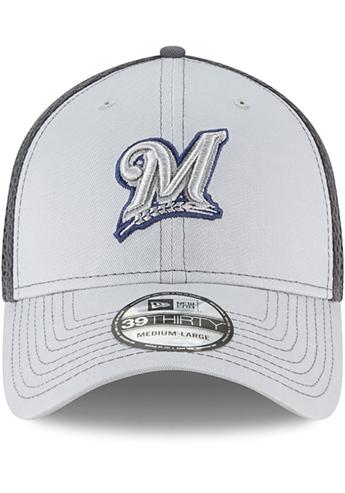 New Era Milwaukee Brewers Mens Grey Grayed Out Neo 39THIRTY Flex Hat - Image 3