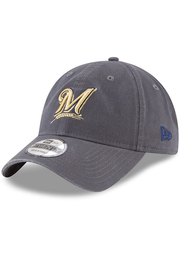 New Era Milwaukee Brewers Fashion Core Classic 9TWENTY Adjustable Hat - Grey