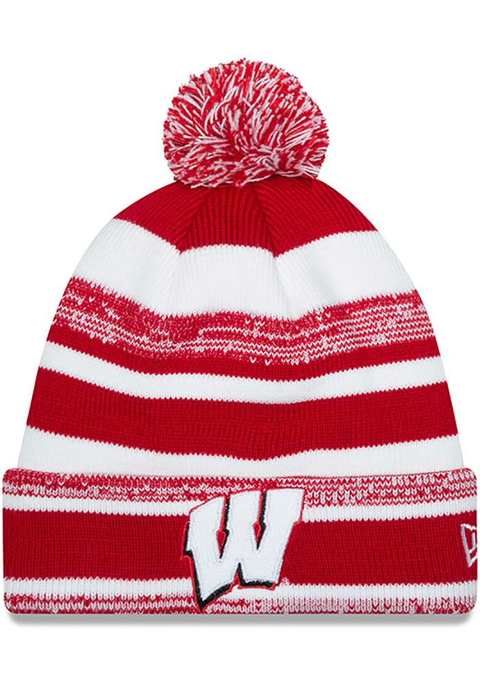 New Era Wisconsin Badgers Red Heathered Striped Cuff Pom Mens Knit Hat - Image 1