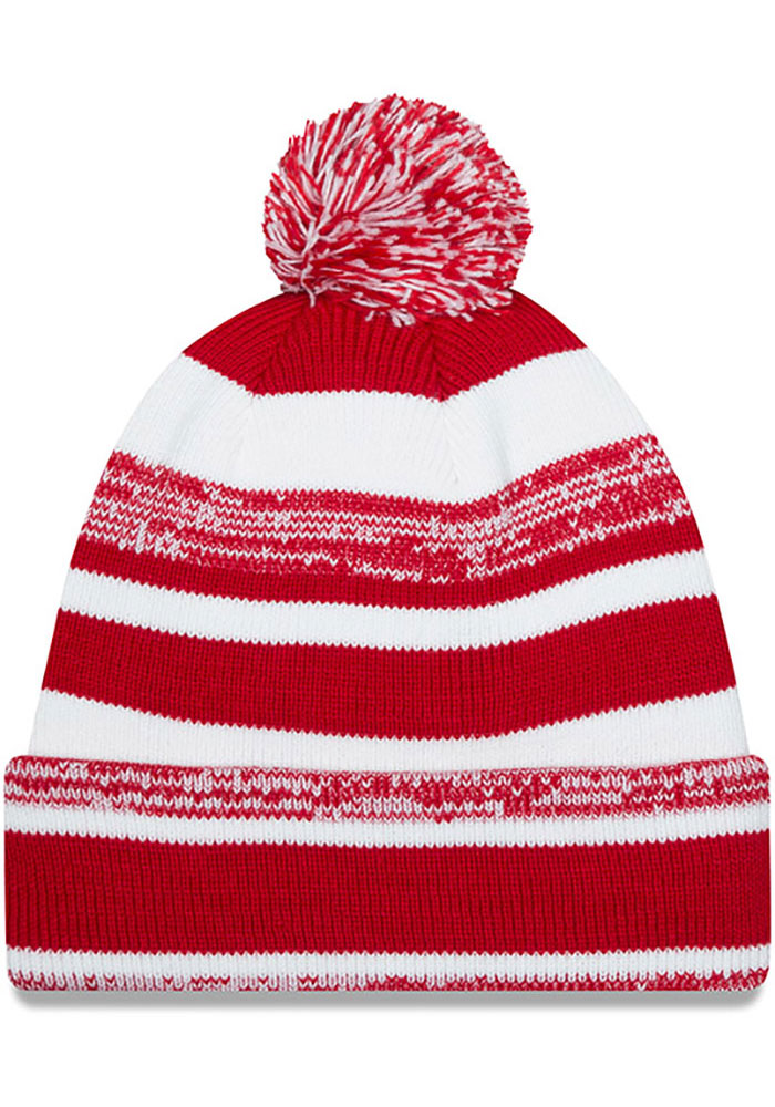 New Era Wisconsin Badgers Red Heathered Striped Cuff Pom Mens Knit Hat - Image 2