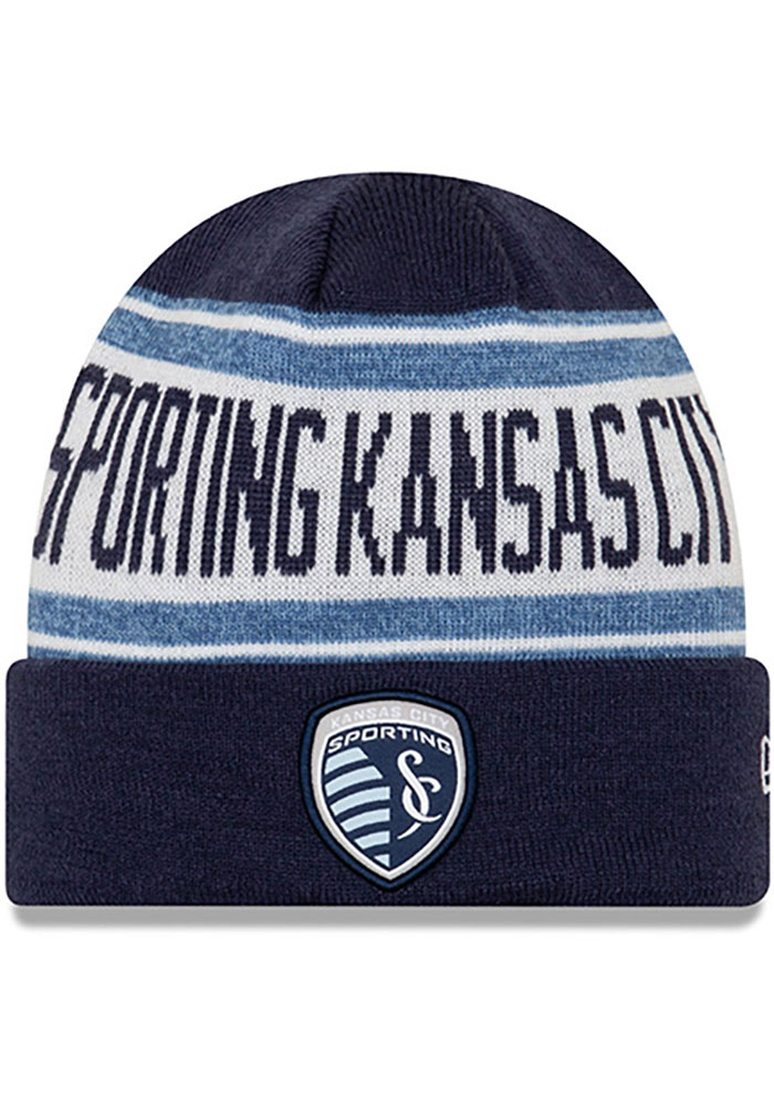 New Era Sporting Kansas City Navy Blue Stated Cuff Mens Knit Hat - Image 1