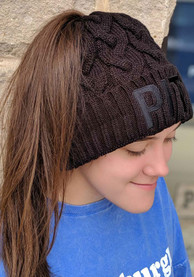 New Era Pittsburgh Womens Black Soft Sherpa Ponytail Cuff Knit Hat