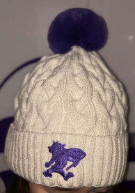 New Era K-State Wildcats Womens Ivory Soft Sherpa Cuff Pom Knit Hat