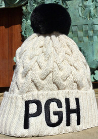 New Era Pittsburgh Womens Ivory Soft Sherpa Cuff Pom Knit Hat