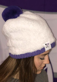 New Era K-State Wildcats Womens White Retro Outer Sherpa Pom Beanie Knit Hat