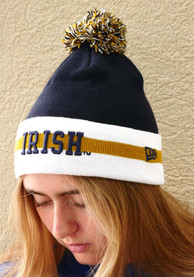New Era Notre Dame Fighting Irish Navy Blue Stripe Cuff Pom Knit Hat