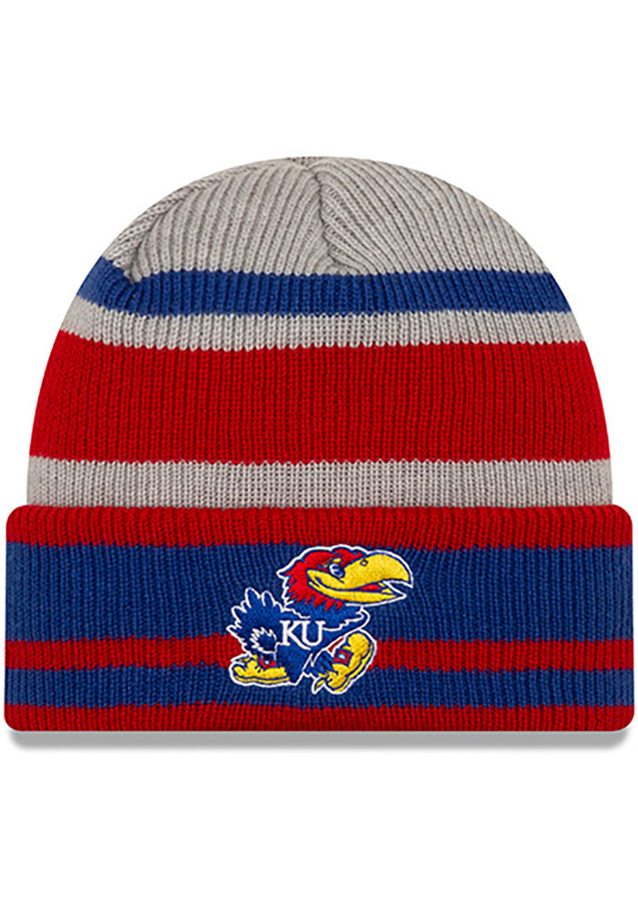 Kansas Jayhawks Youth New Era JR Layer Cuff Knit Hat - Grey